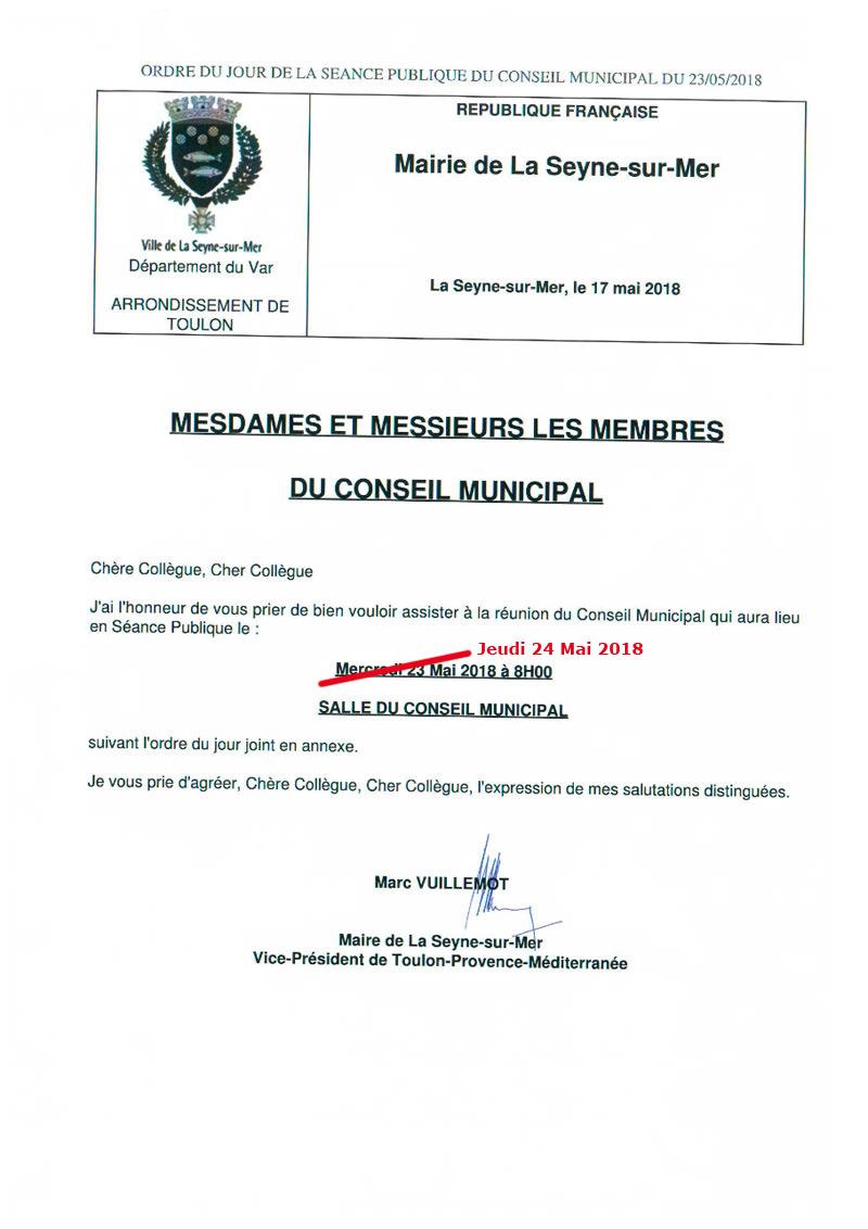 L'Ordre du Jour du Conseil municipal de La Seyne sur Mer du 23/05/2018