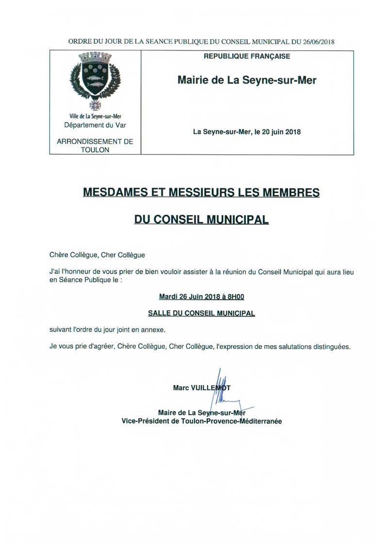 L'Ordre du Jour du Conseil municipal de La Seyne sur Mer du 26/06/2018