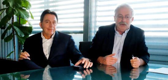 Franck Dondeinas, P.-D.G. du groupe Quartus, et Marc Vuillemot