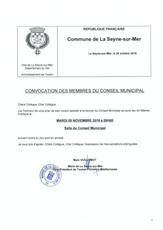 L'Ordre du Jour du Conseil municipal de La Seyne sur Mer du 05/11/2019