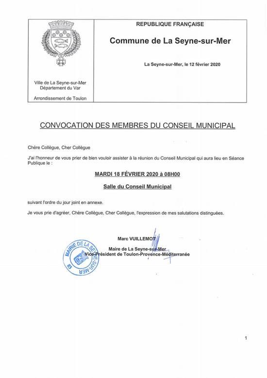 L'Ordre du Jour du Conseil municipal de La Seyne sur Mer du Mardi 18/02/2020