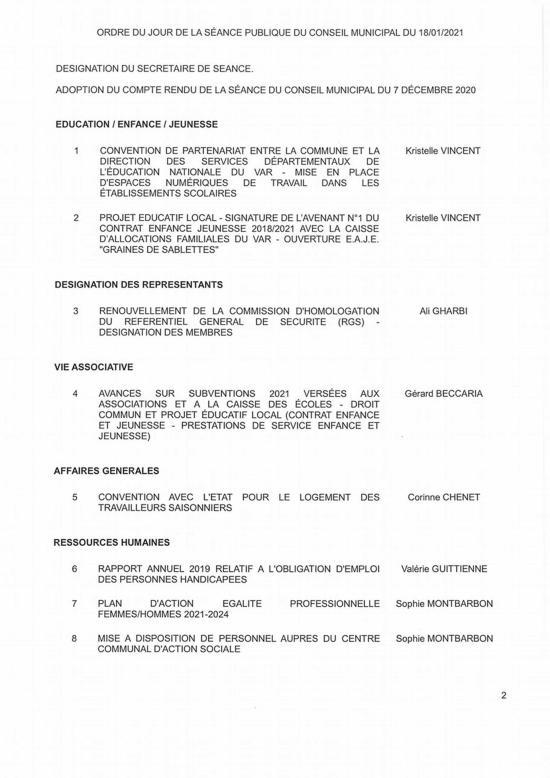 L'Ordre du Jour du Conseil municipal de La Seyne du 18/01/2021