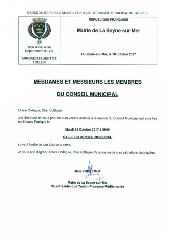 Conseil municipal du 24/10/2017