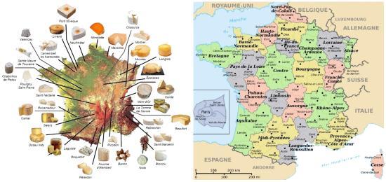 carte fromages français AOP