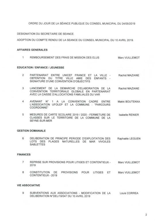 L'Ordre du Jour du Conseil municipal de La Seyne sur Mer du 24/05/2019