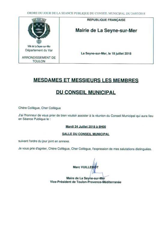 L'Ordre du Jour du Conseil municipal de La Seyne sur Mer du 24/07/2018