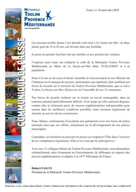 La Seyne sur Mer - Réaction: Hubert Falco, Maire de Toulon à Marc Vuillemot 10/09/2018