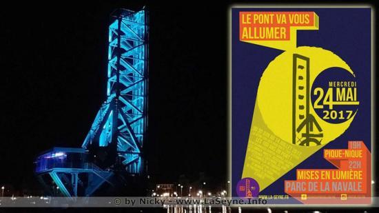 La Seyne sur Mer - Le Pont levant de 100 ans est mis en Lumière - voir le Photos et la Vidéo sur
