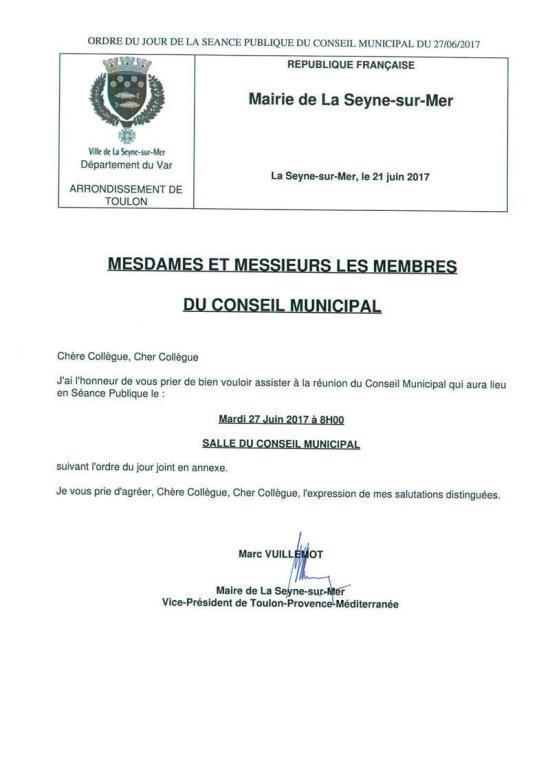 Conseil municipal: Mardi 27 Juin 2017 à 08h00