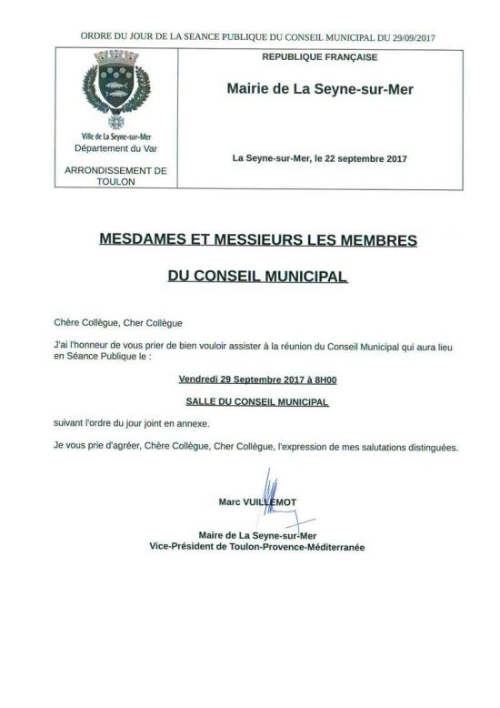 Conseil municipal: Vendredi 29 Septembre 2017 à 8 Heures