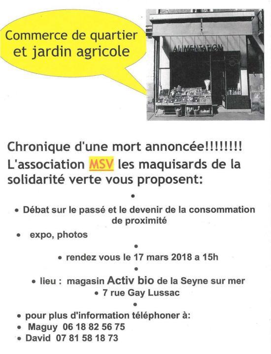 Expo, photos, débats Commerce de quartier & jardin agricole 17/03/18