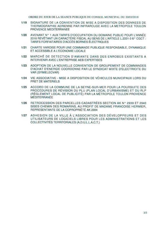 L'Ordre du Jour du Conseil municipal de La Seyne sur Mer du 20/03/2018