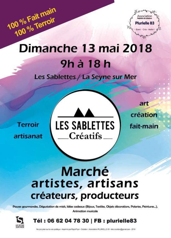 Les Sablettes créatifs - marché créateurs,artisans et producteurs - dimanche 13 mai 2018