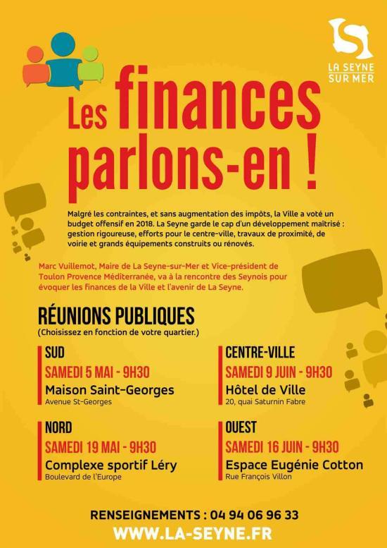 Réunion publique: « Les finances, parlons-en » Samedi 09 juin 2018 à 9h30 à La Seyne
