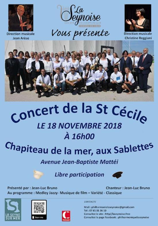« Concert de la Sainte-Cécile 2018 », le 18 Novembre aux Sablettes