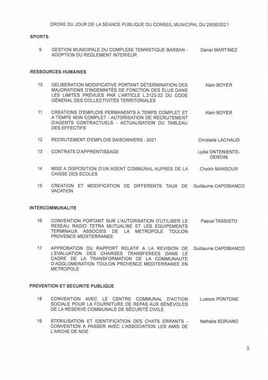 L'Ordre du Jour du Conseil municipal Seynois du Mardi 29/06/2021