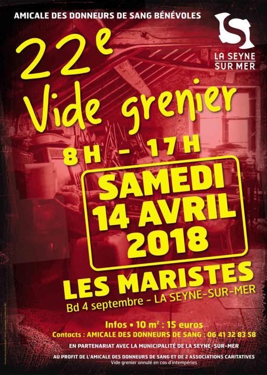 Vide-Grenier de l'Amicale des Donneurs de Sang, le 14 Avril 2018 à La Seyne sur Mer