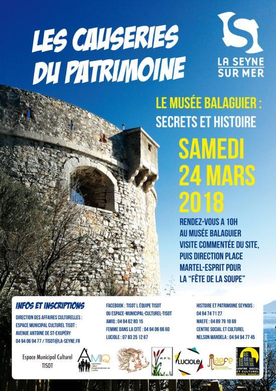 Les Causeries du Patrimoine 2018 - Samedi, 24 Mars - Rendez-vous a 10H00 au Musee BALAGUIER