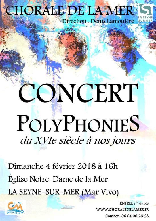 Concert: La Chorale de la Mer, le Dimanche 04 Février 2018 à l'Eglise Notre Dame de la Mer