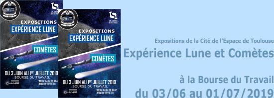 Expo Cité de l'Espace de Toulouse: Expérience Lune et Comètes du 03/06/ au 01/07/2019