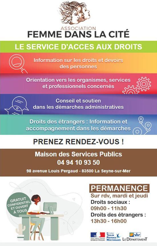 Femme dans la Cité: Une Permanences Droits sociaux et Droits des Étrangers à la Maison des Services Publics La Seyne sur