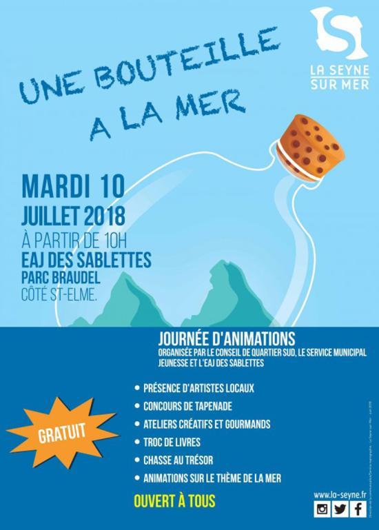 Journée d'Animations: Une Bouteille à la Mer, le 10 Juillet 2018 à l'EAJ des Sablettes