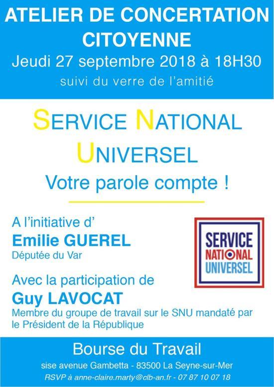Atelier de Concertation citoyenne sur le Service National Universel, le 27/09/2018 à La Seyne