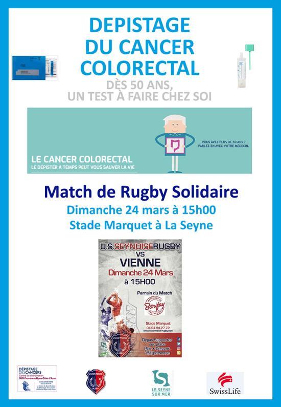 Rugby et Prévention du Cancer colorectal: Mars bleu 2019, le 24 Mars à Marquet