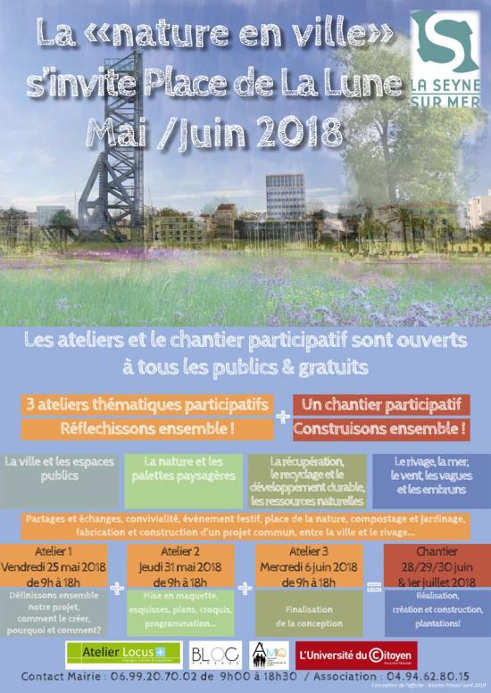 La «Nature en Ville» s'invite Place de la Lune en Mai et Juin 2018 à La Seyne sur Mer