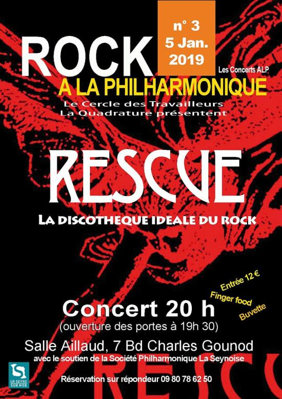 Rock à la Philharmonique: La Quadrature reçoit RESCUE, le 05/01/2019