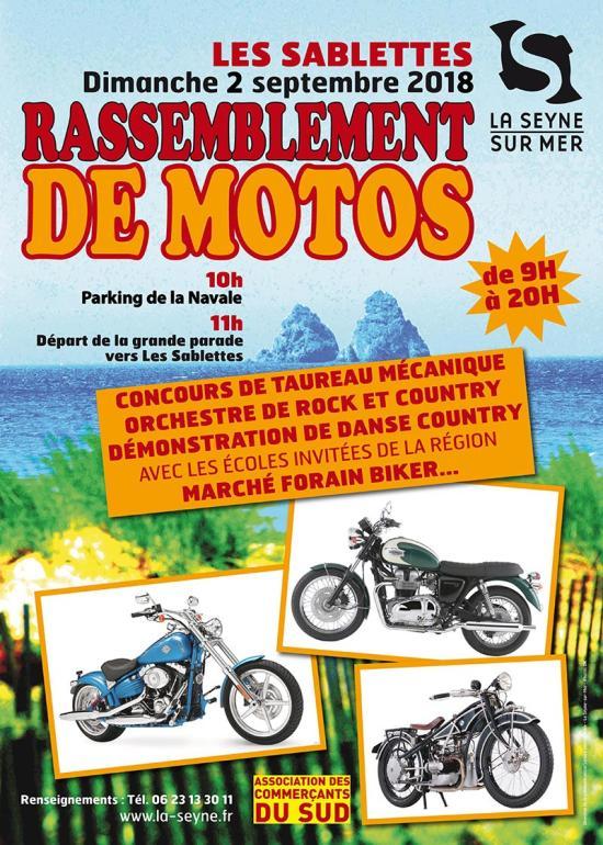 Rassemblement de Motos et Marché forain, le 02/09/2018 aux Sablettes