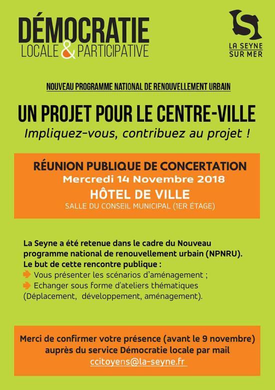 Rénovation Urbaine du Centre-Ville: Réunion publique du 14/11/2018 ... Inscrivez-vous avant le 09