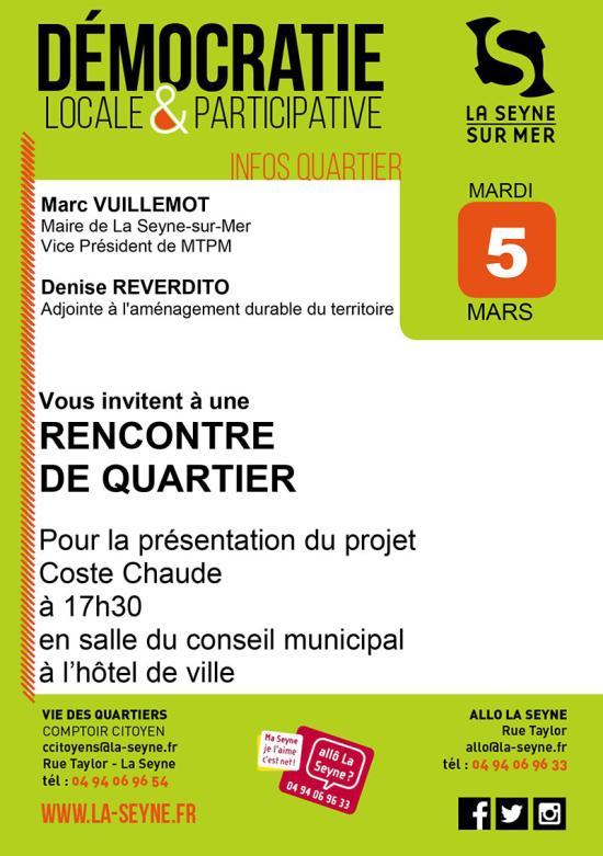 Quartier: Présentation du Projet Coste Chaude, le 05 Mars 2019