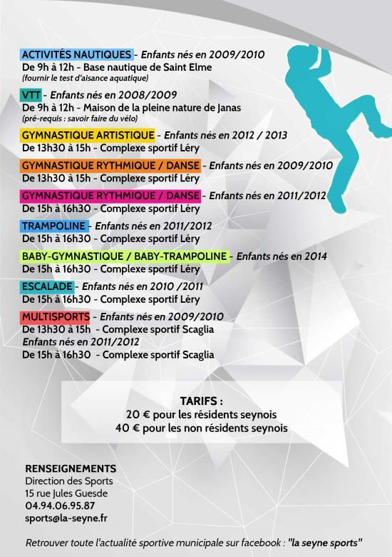 Vacances de la Toussaint 2019: Inscriptions aux Ecoles municipales de Sport
