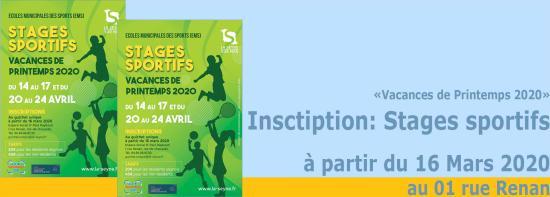 Stages sportifs: Inscriptions aux Ecoles municipales de Sport, à partir du 16 Mars 2020