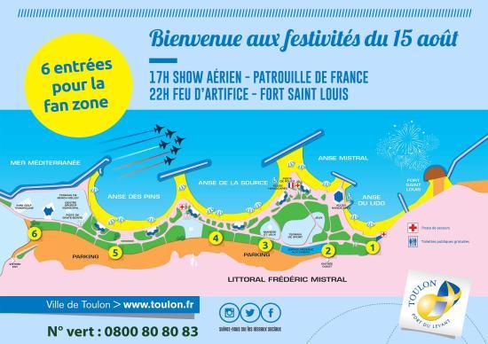 Toulon le 15/08/2018: Festivités et Dispositif Sécurité du Show aérien et du Feu d'Artifice