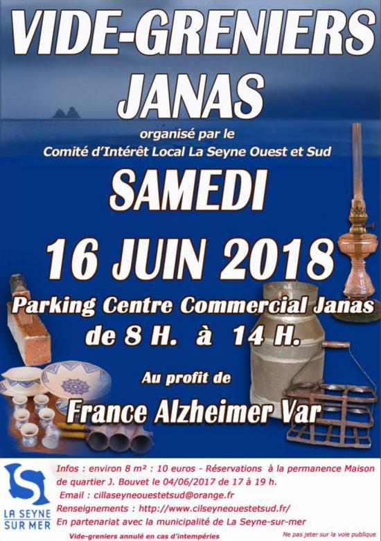 Vide Greniers Janas: le 16 Juin 2018 sur le Parking du Centre commercial