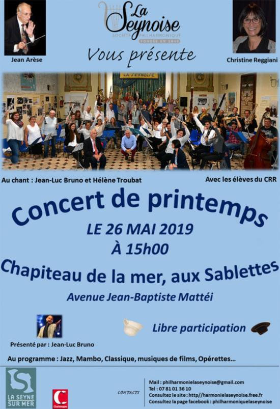 Concert de Printemps de la Philharmonique La Seynoise, le 26 Mai 2019
