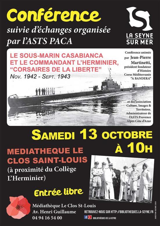 Conférence: « Le Sous-Marin Casabianca et le Commandant L'Herminier, Corsaires de la Liberté », le 13/10/2018