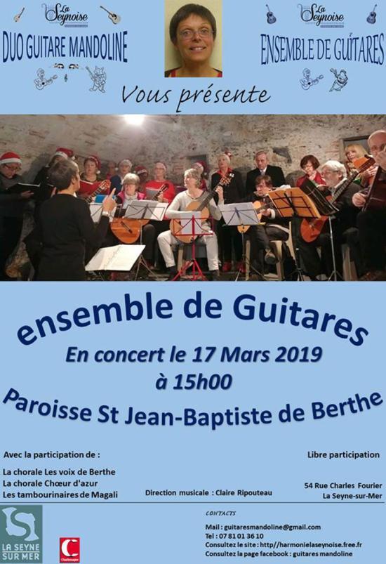Concert: Ensemble de Guitares de La Seynoise, le 17 Mars 2019