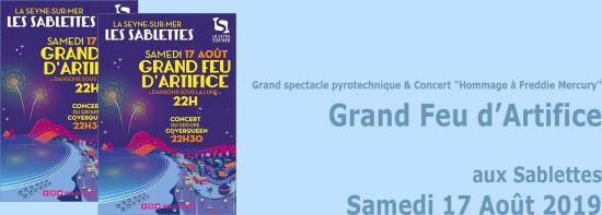 Spectacle pyrotechnique musical et une Spéciale Freddie Mercury, le 17 Août 2019 aux Sablettes
