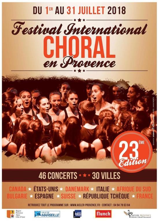 Le 23ème Festival Choral international en Provence, les 07 et 08 Juillet 2018 à La Seyne