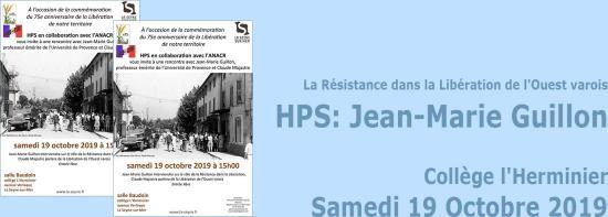 HPS: Rencontre avec Jean-Marie Guillon, le 19/10/2019