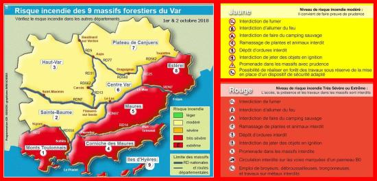 Interdiction de Circulation dans 5 Massifs forestiers du Var les 1er et 02 Octobre 2018