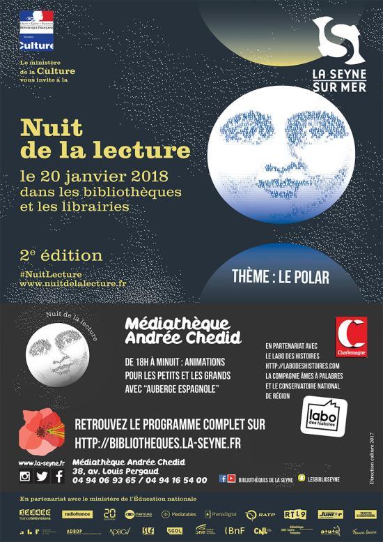 La Nuit de la Lecture - Sam 20/01/018 à la Médiathèque Andrée Chedid