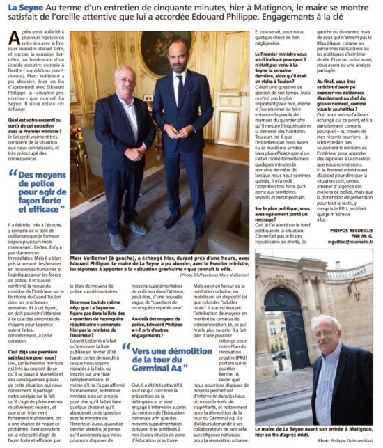 Marc Vuillemot reçu le 18/09/2018 à Matignon par le premier Ministre