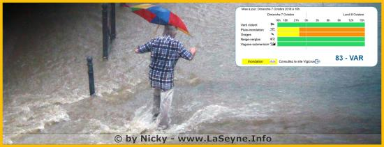 Le Var placé en Vigilance météo Orages et Pluie-Inondation 07-08/10/18
