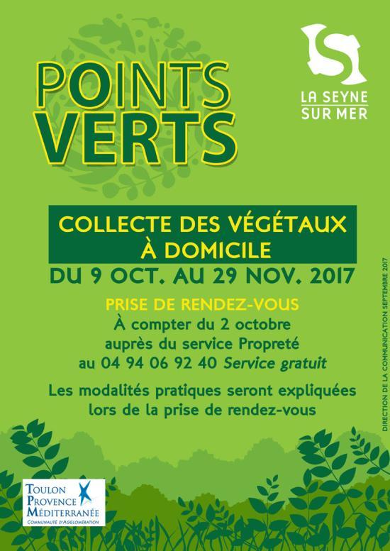 Collecte des Végétaux à Domicile à partir du Lundi 09 Octobre 2017