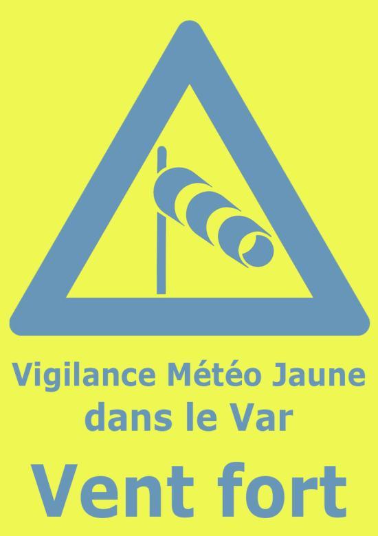 Vigilance Météo JAUNE: Vent fort dans le Var du 14 au 15/03/2019