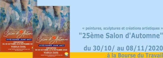 Le 25ème Salon d'Automne, du 30/10/ au 08/11/2020 à la Bourse du Travail